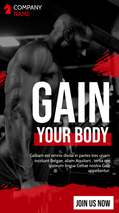 red and white fitness instagram story whatsap template