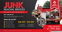 Red and White Junk Removal Poster Design Isithombe Esabiwe ku-Facebook template