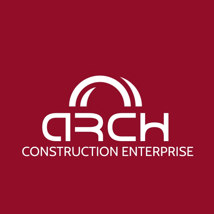 red and white logo template building construc