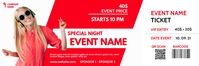red and white modern event ticket Bannière 2' × 6' template