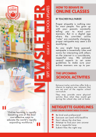 Red and White Newsletter for School Design