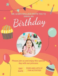 Red and Yellow Birthday Bash Invite Slideshow Pamflet (VSA Brief) template