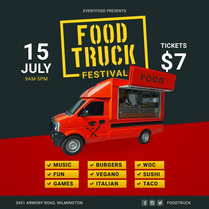 Red and Yellow Food Truck Restaurant Instagra Instagram Post template