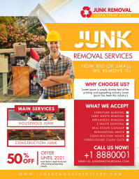 Red and Yellow Junk Removal Flyer Design Pamflet (VSA Brief) template