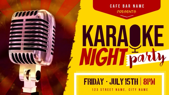 Red and Yellow Karaoke Night Facebook Cover V