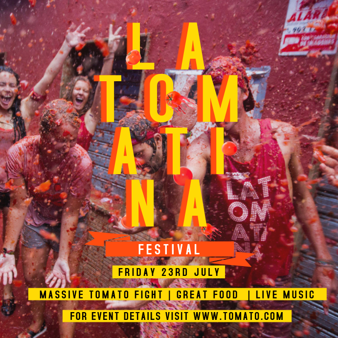 Red and Yellow La Tomatina Square Image
