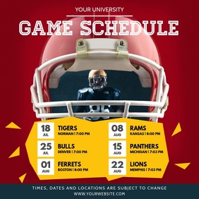 Red and Yellow Sports Schedule Square Video
