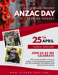 Red Anzac Day Flyer Template 传单(美国信函)