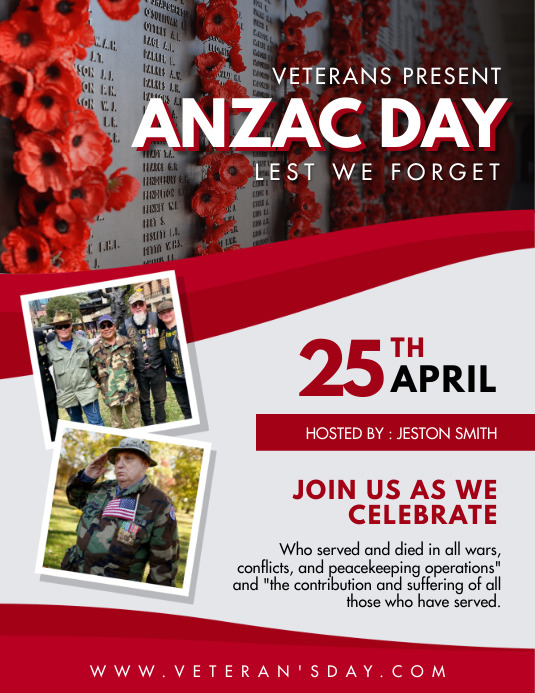Red Anzac Day Flyer Template