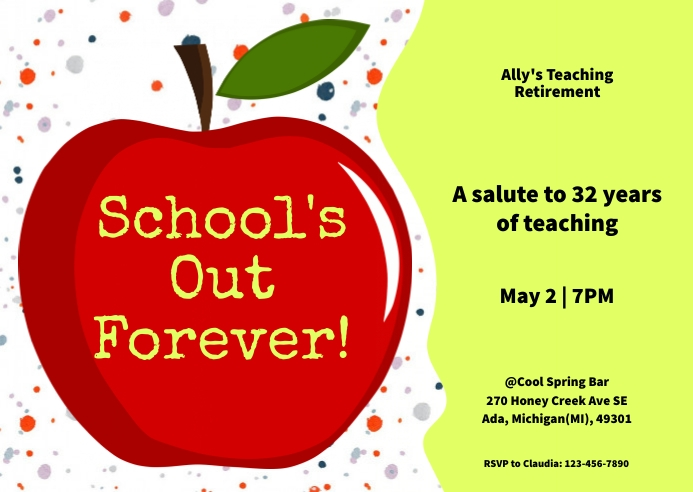Red Apple Teacher Retirement Invitation Card Postcard template