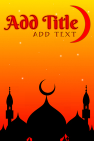 red arabic night with buildings and moon