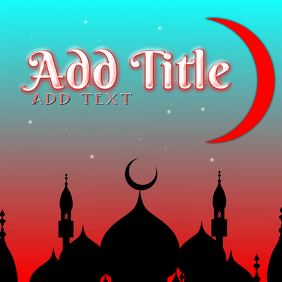 red arabic night with buildings and moon - digital web template