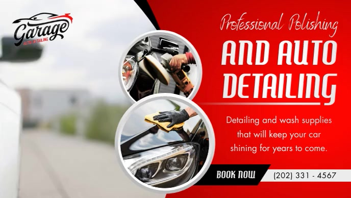 Red Automotive Facebook Cover Video template
