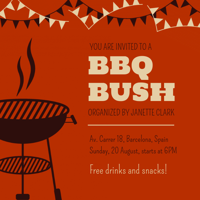 Red Barbecue Event Instagram Post Invite Template