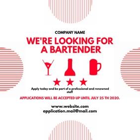 Red Bartender hiring instagram post design template
