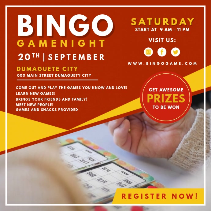 Red Bingo Game Night Online Ad