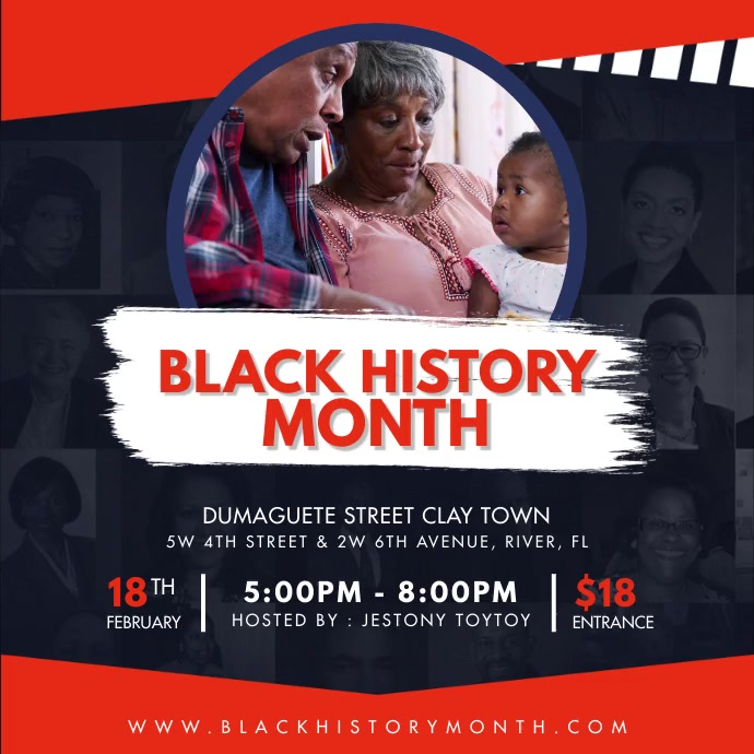 Red Black History Month Instagram Video Templ Wpis na Instagrama template