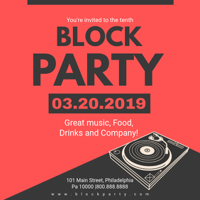 Red Block Party Invitation Online Instagram Post template