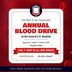 Red Blood Donation Drive Square Video