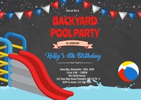 Red blue waterslide invitation A6 template