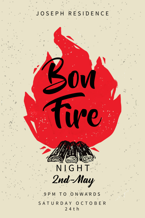 Red Bonfire Poster Template