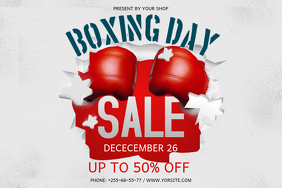 Red Boxing Day Landscape Poster template