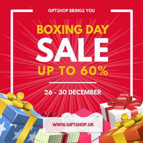 Red Boxing Day Sale Instagram Post Wpis na Instagrama template