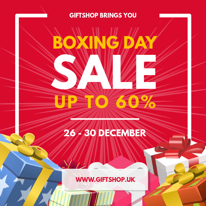 Red Boxing Day Sale Instagram Post template