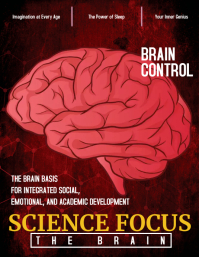 Red Brain Science Magazine Cover Flyer Templa template