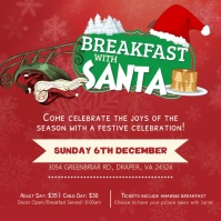Red Breakfast with Santa Invitation Square Vi