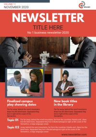 Red Business Monthly Newsletter Page A4 template