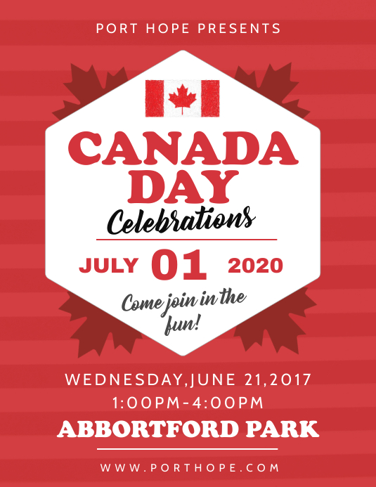 Red Canada Day Event Flyer 传单(美国信函) template