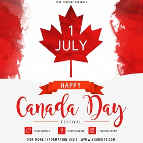Red Canada Day Event Square Video template