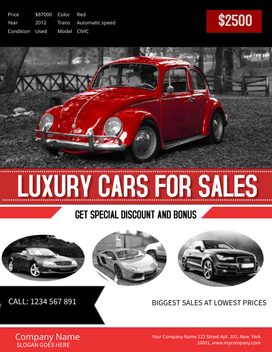 Car For Sale Template | Red Car Sale Poster Template Postermywall