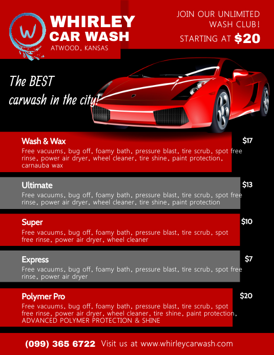 Red Car Wash Services Price List Templates