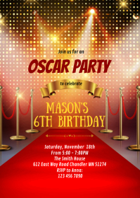 Red carpet birthday party invitation A6 template