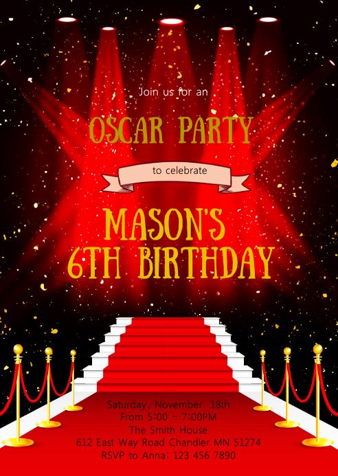 Red carpet birthday party invitation