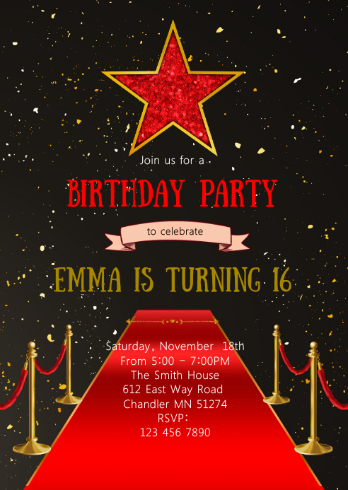 Red carpet hollywood birthday invitation A6 template