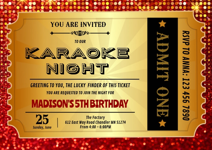 Red carpet ticket birthday invitation A6 template