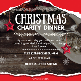 Red Charity Dinner Invitation Ad