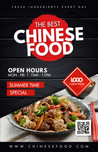 Red Chinese Food Table Talker Custom Design