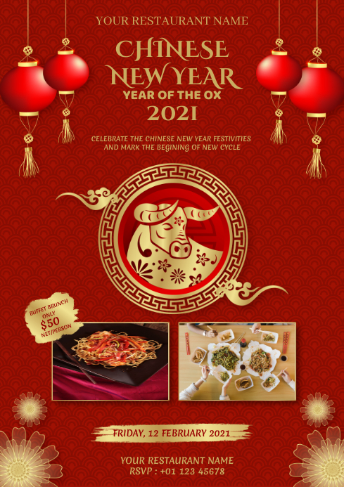 Red Chinese New Year Dinner Flyer Template A4