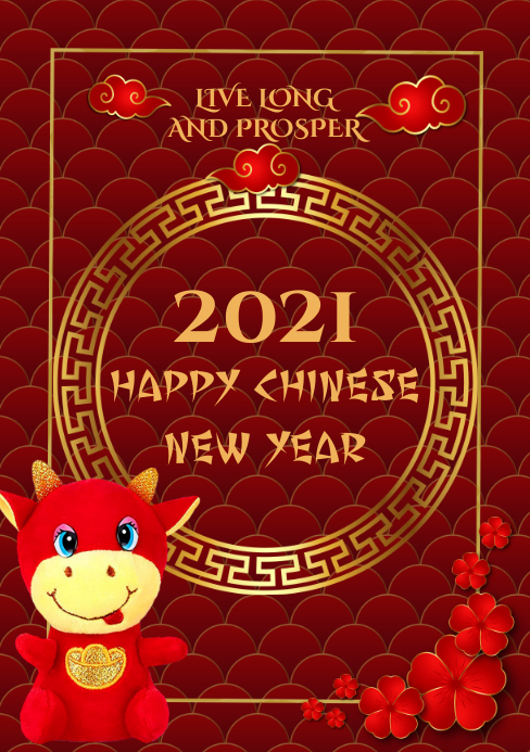 Red Chinese New Year Flyer Template A5