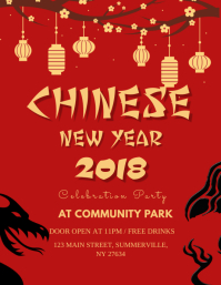 red chinese new year flyer template christmas card
