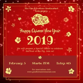 Red Chinese New Year Square Video Quadrado (1:1) template