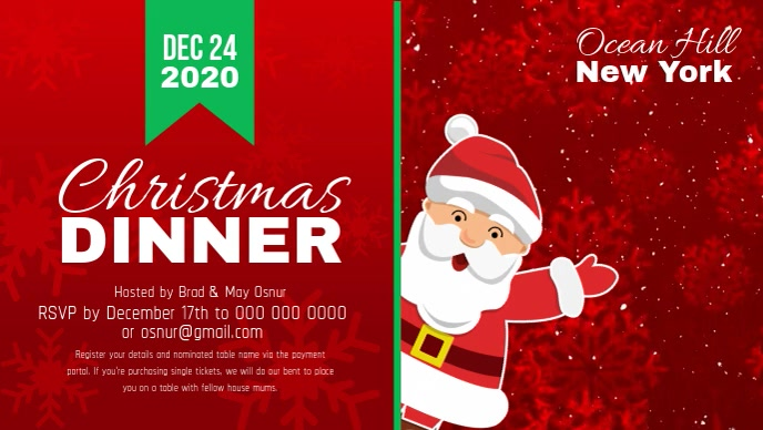 Red Christmas Dinner Facebook Cover Video template