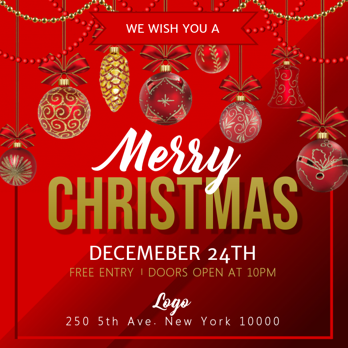 Red Christmas Event Instagram Image template