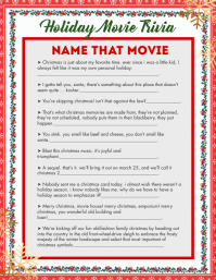 Red Christmas Holiday Trivia Answer Sheet Fly Flyer (US Letter) template