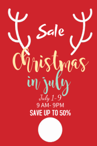 Red Christmas In July Poster Template