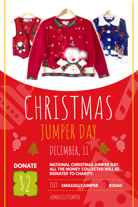 Red Christmas Jumper Day Poster Template | PosterMyWall